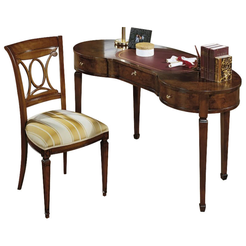 Classic Italian Desk Gv1235 Burled Wood Leather Italy By Web